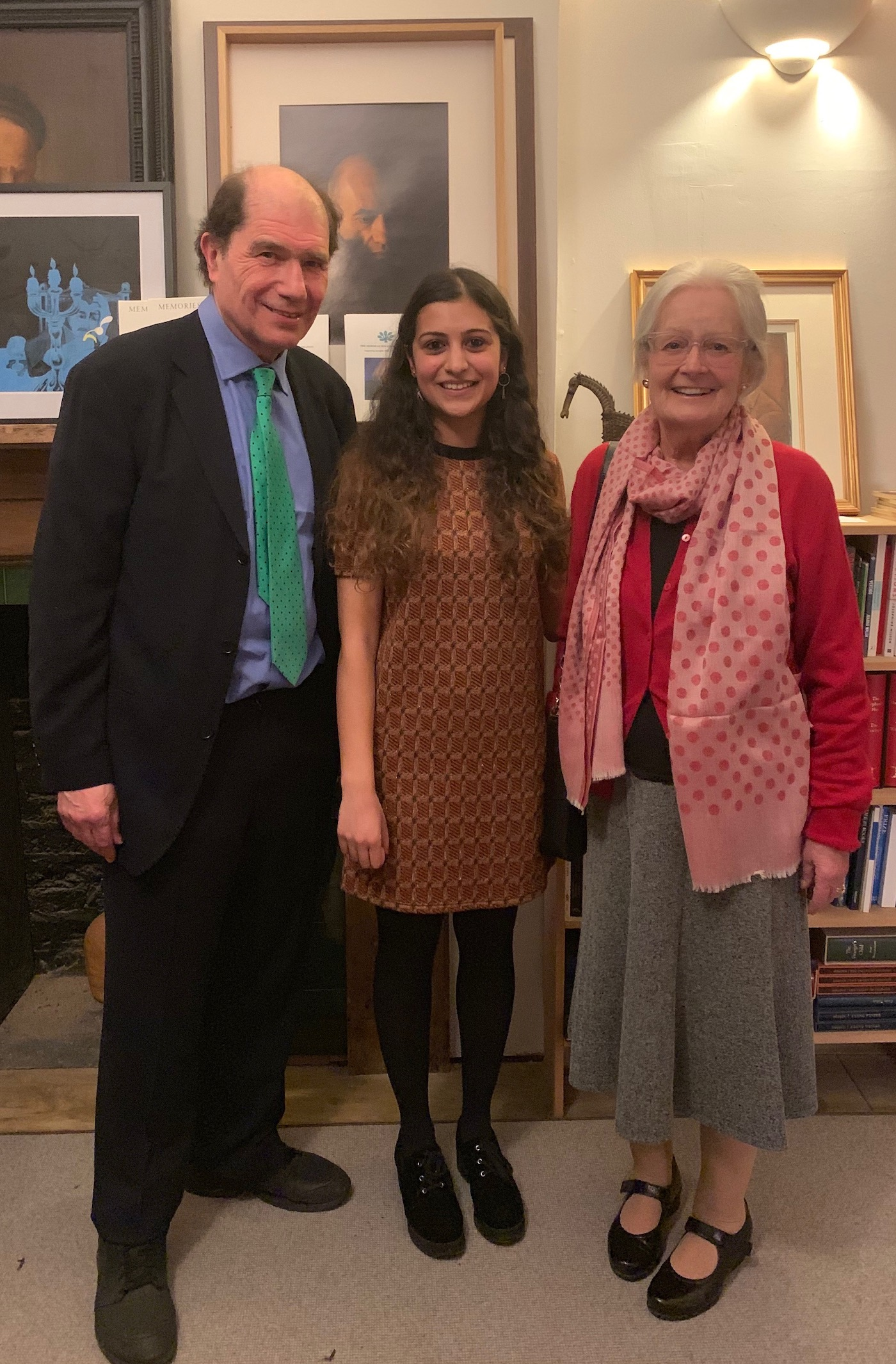 'Prema Raj, winner of the Deborah Rogers Foundation David Miller Bursary, with David Miller's mother June Miller and Michael Berkeley, Chairman, after receiving the award.'